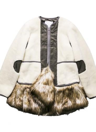 Sacai 白色飾皮草下襬拼接夹克,價格店洽。(團團精品)