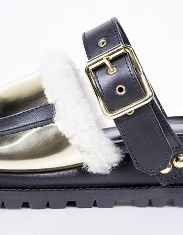 Sacai 黑金襯毛涼鞋,NT$44,500。(團團精品)(側面)
