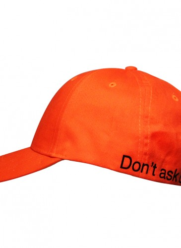 【中性】F.A.M.T.「Don't ask don't tell」活力橘棒球帽,NT$1,600。_側面