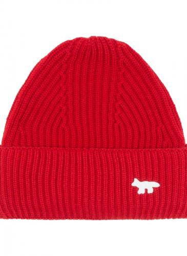 MAISON KITSUNE 紅色毛線帽,NT$3,000。(團團精品)