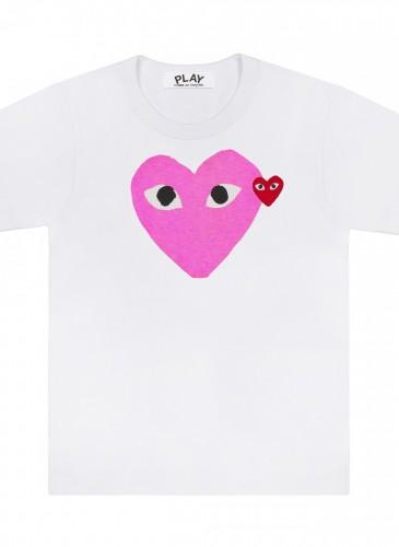 COMME des GARÇONS PLAY 系列粉紅色雙愛心T恤,NT$3,500。(團團精品)(男女款)