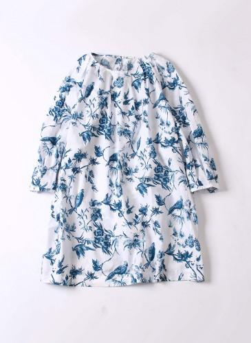 45R原創手繪花鳥柄白色洋裝,NT$22,980。