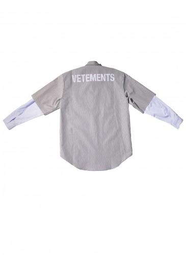 VETEMENTS條紋拼接襯衫,NT$40,800。(團團TEEMARKET)_反面