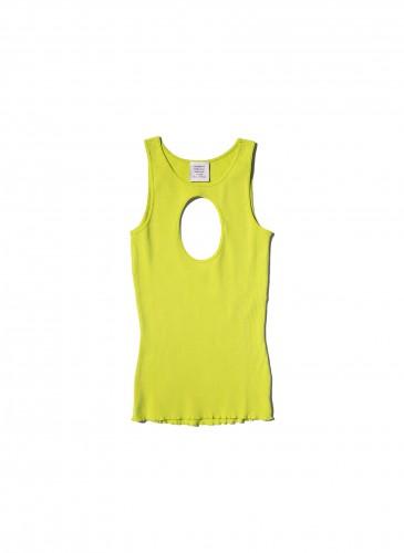 VETEMENTS鮮黃色胸部挖洞背心,NT$11,500。(團團TEEMARKET)