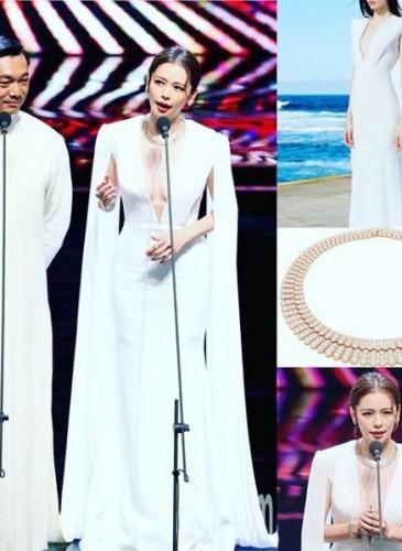 徐若瑄穿著Alex Perry禮服出席2018金馬獎頒獎典禮。(圖片翻攝自網站)