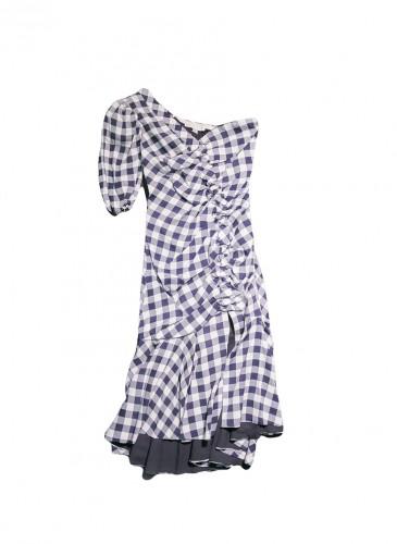 JONATHAN SIMKHAI 2019春夏系列格紋單肩洋裝,NT$33,500。(團團)