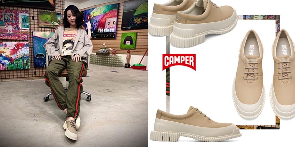 演藝圈藝文才女孟耿如,穿出CAMPER Pix獨屬於她的孟式清新藝術家氣息。(照片翻攝自孟耿如FB)