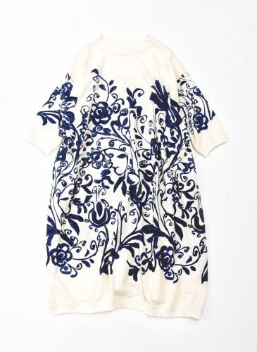 45R擬麻棉手捺染印花系列白色洋裝,NT$32,500。