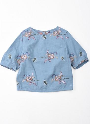 45R緹花圖案系列淺藍色上衣,NT$19,200。