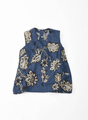 45R腰果花圖案系列藍色無袖背心,NT$25,200。
