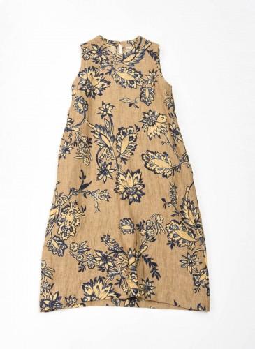45R腰果花圖案系列駝色洋裝,NT$37,200。