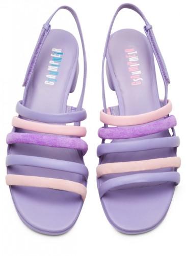 CAMPER Katie Sandal系列Twins拼接紫色條紋低跟涼鞋,NT$7,280。-1
