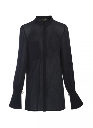 Mother of Pearl深藍色長袖襯衫,NT$14,800。(團團選品)