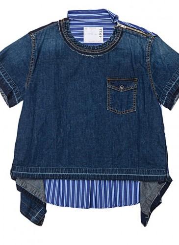 SACAI藍染拼接打褶布料T恤,NT$22,800。(團團選品)