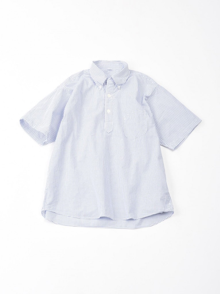 45R水藍色格紋亨利領襯衫,NT$14,500。