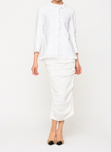 Comme des Garcons Tricot白色荷葉裝飾外套,NT$38,500。(團團選品) 人物穿搭