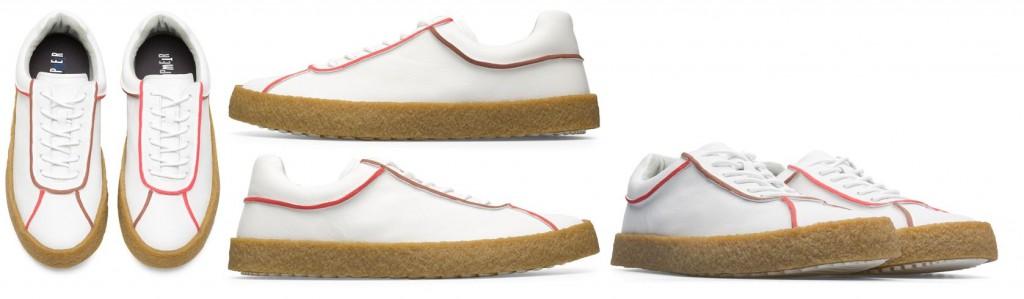 CAMPER TWINS系列白色紅邊膠底休閒鞋,NT$7,580。(男鞋)