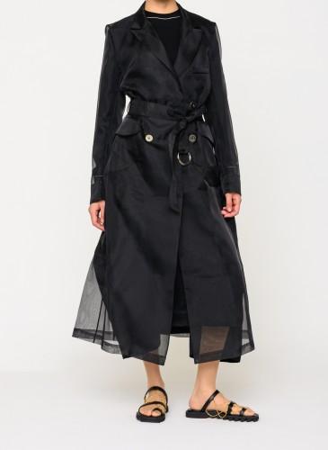 Mother Of Pearl黑灰色紗質大衣,NT$38,800。(團團選品) 穿搭