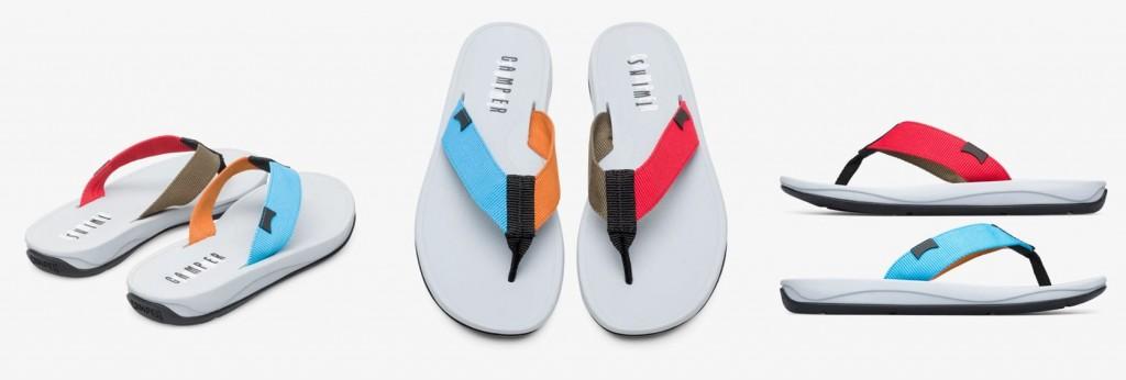 CAMPER Twins多色拼接人字涼拖鞋