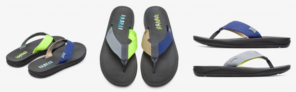 CAMPER Twins螢光多色拼接人字涼拖鞋