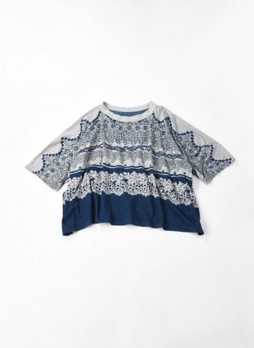 45R藍染圖騰拼接寬罩衫