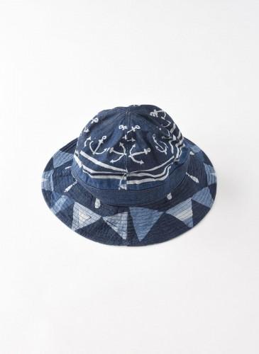 45R藍染圖騰拼接漁夫帽