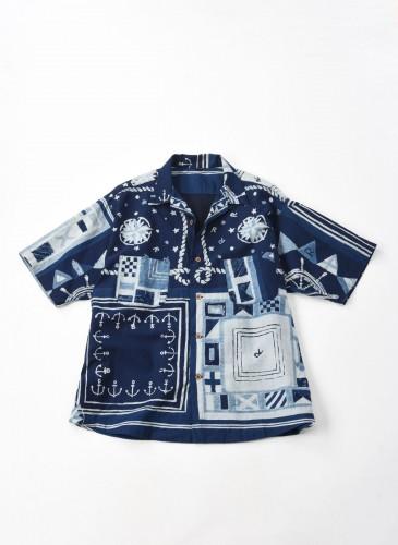 45R藍染圖騰拼接襯衫