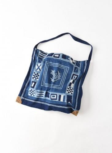 45R藍染圖騰方巾托特包 (2)