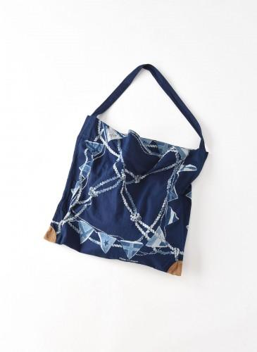 45R藍染圖騰方巾托特包