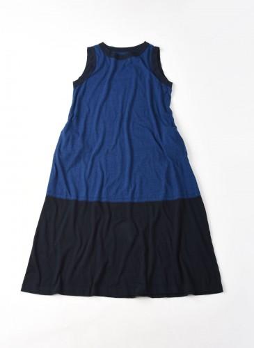 45R藍染拼接連身裙
