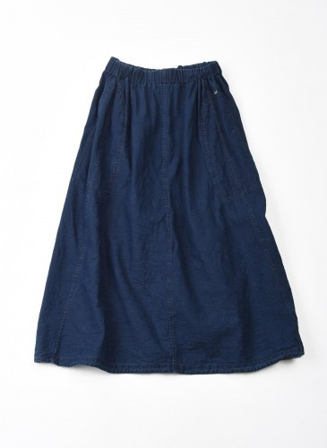 45R藍染長裙