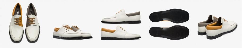CAMPER Twins白+灰+土黃色帆船鞋