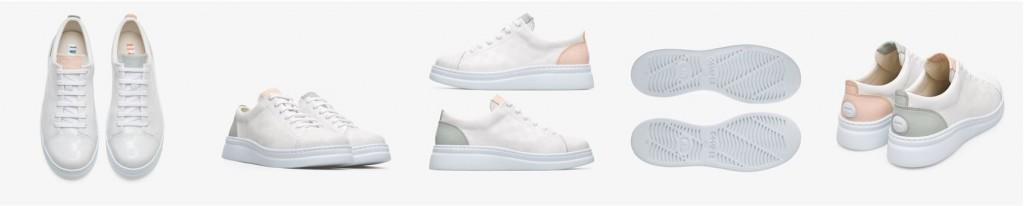 CAMPER Twins白+灰+粉紅配色休閒鞋