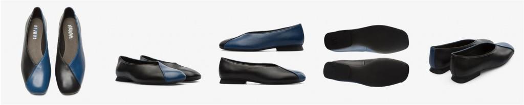 CAMPER Twins黑藍拼色皮革芭雷舞休閒鞋