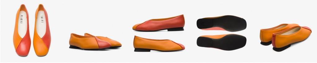 CAMPER Twins橘紅拼色皮革芭雷舞休閒鞋