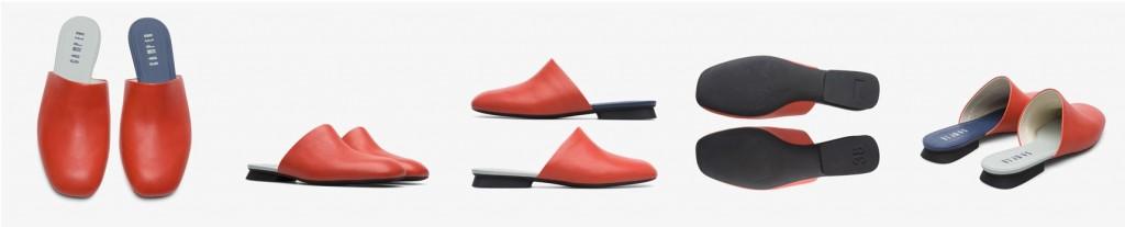 CAMPER Twins橘紅色皮革便鞋