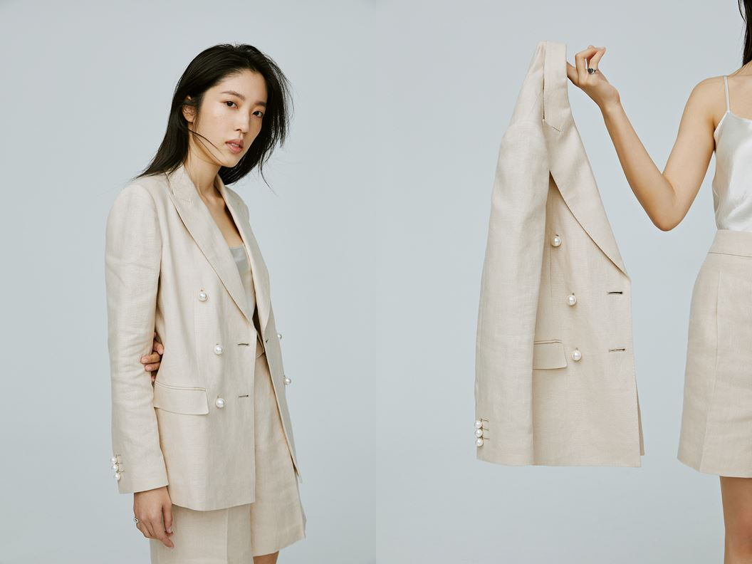 ▲ TUAN TUAN X GAUTE聯名 限量雙排珍珠釦套裝。尺寸:S/M。售價NTD 24,000。
